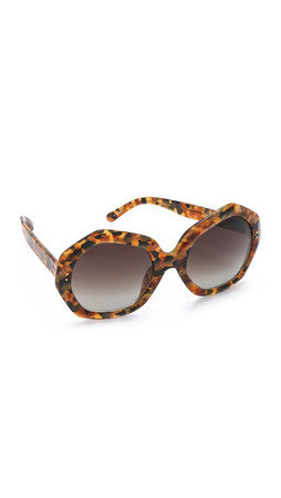 Linda Farrow Luxe Geometric Sunglasses - Pearl Tortoiseshell/Brown