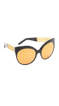 Linda Farrow Luxe Mirrored Sunglasses - Black/Gold