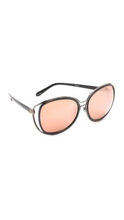 Linda Farrow Luxe Oversized Glam Sunglasses - Black/Rose Gold