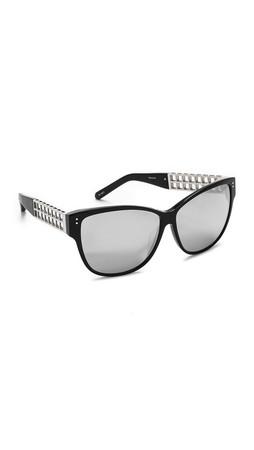 Linda Farrow Luxe Oversized Sunglasses - Black/Platinum