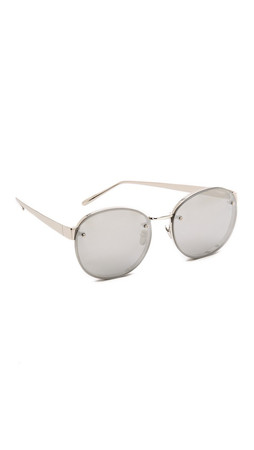 Linda Farrow Luxe Round Sunglasses - White Gold/Platinum
