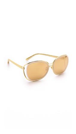 Linda Farrow Luxe Thin Rim Sunglasses - Gold/Gold