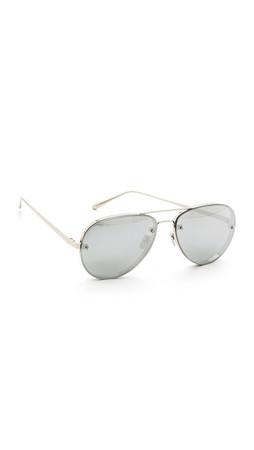 Linda Farrow Luxe White Gold Mirrored Aviators - White Gold/Platinum