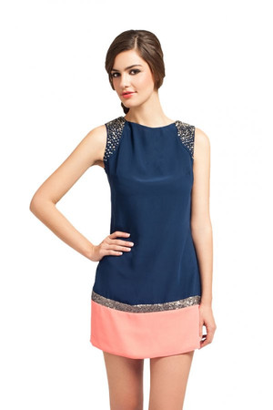 Little Mistress Navy And Coral Embellished Detail Tunic