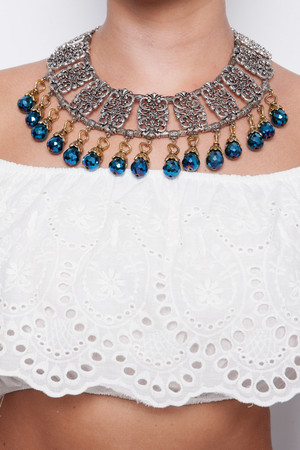 Liv Silver & Blue Beaded Necklace