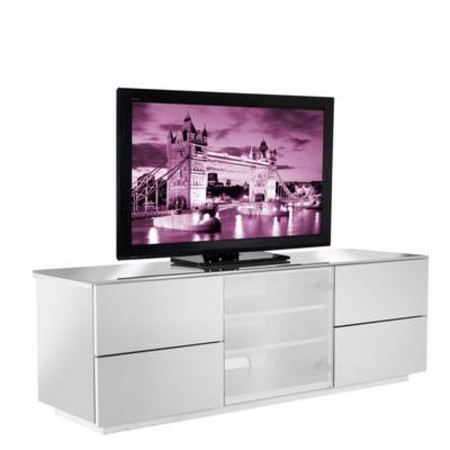 London TV Cabinet White & White Glass