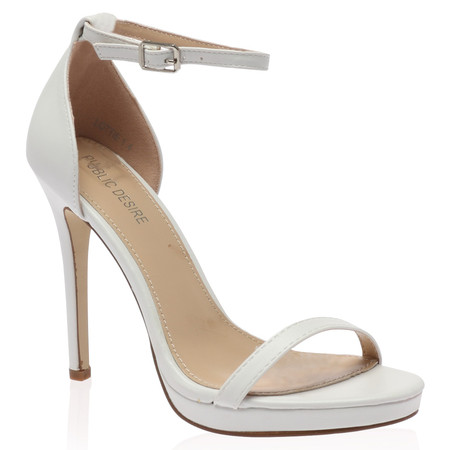 Lottie White Barely There High Heel