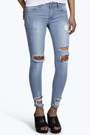 Low Rise Distressed Ankle Skinny Jeans blue