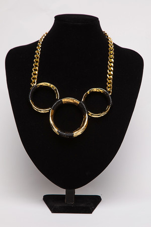 Lucy Gold & Black Three Hoop Necklace
