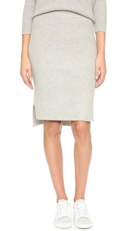 Madewell Bryn Ribbed Sweater Skirt - Heather Pebble
