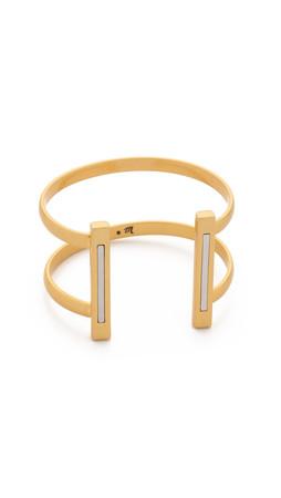 Madewell Luna Bar Cuff Bracelet - Worn Rhodium