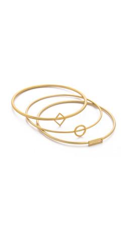 Madewell Open Shape Bracelet Stack - Vintage Gold