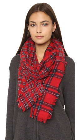 Madewell Patchwork Piece Plaid Scarf - Flame Red