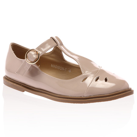 Madison Nude Patent Cut Out Flat Shoe