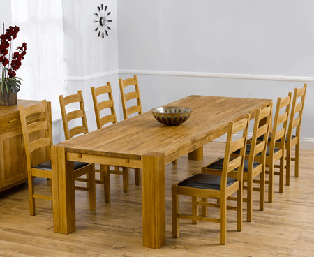 Madrid 300cm Solid Oak Dining Table with 8 Vermont Chairs