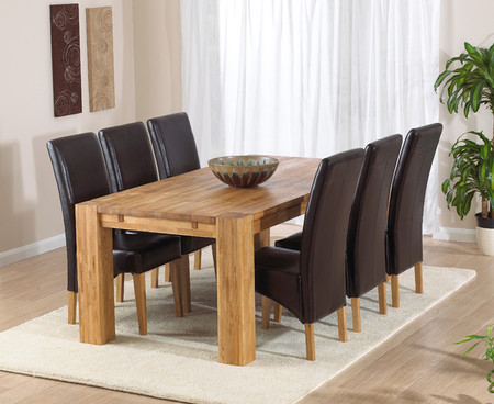Madrid Dining Table 200cm with Cannes Leather Chairs