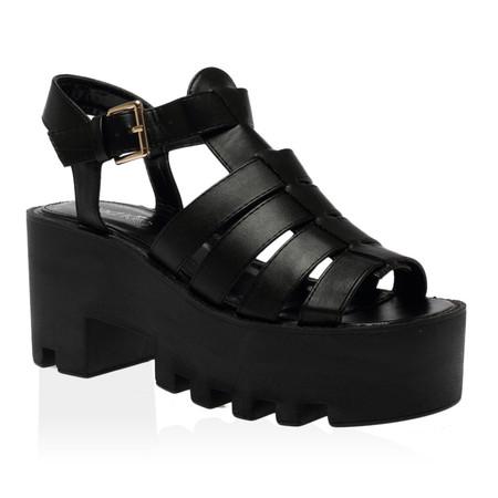 Maggie Black Gladiator Flatform Sandal