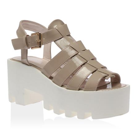 Maggie Nude Gladiator Flatform Sandal