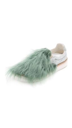 Maison Margiela Furry Glitter Sneakers - Green/Silver