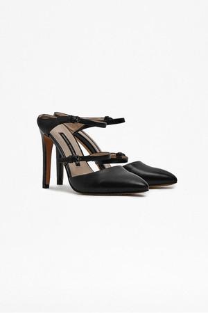 Mandalay Leather Heeled Mules - Black