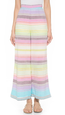 Mara Hoffman High Waist Wide Leg Trousers - Rainbow Stripe