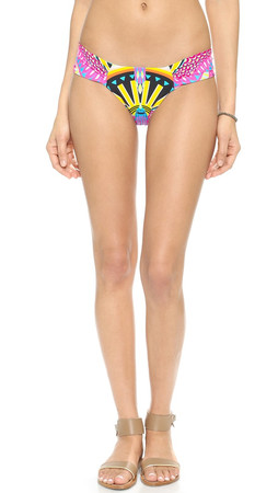 Mara Hoffman Side Ruched Bikini Bottoms - Rainbow Bird Black