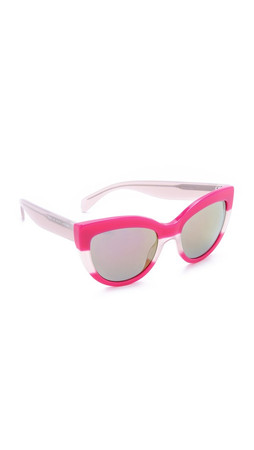 Marc By Marc Jacobs Cat Eye Sunglasses - Pink Transparent/Green Photo