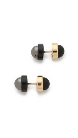 Marc By Marc Jacobs Double Side Earrings - Black/Oro
