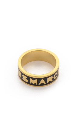Marc By Marc Jacobs Dreamy Logo Band Ring - Black/Oro