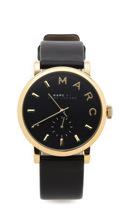 Marc By Marc Jacobs Leather Baker Watch - Black