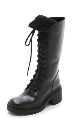 Marc By Marc Jacobs Leigh Shearling Army Boots - Black