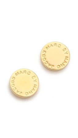 Marc By Marc Jacobs Logo Disc Stud Earrings - Oro