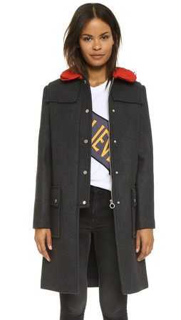Marc By Marc Jacobs Norman Bonded Wool Coat - Caviar Grey Melange
