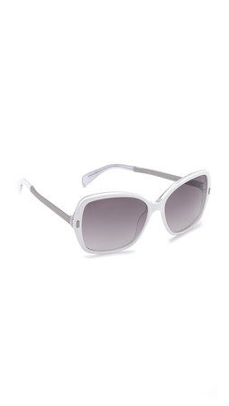 Marc By Marc Jacobs Oversized Sunglasses - Crystal White/Grey Gradient