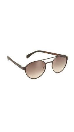 Marc By Marc Jacobs Round Aviator Sunglasses - Matte Black/Grey Gradient