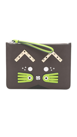 Marc By Marc Jacobs Screw'D Up Faces Gato Wristlet Pouch - Faded Aluminum Multi