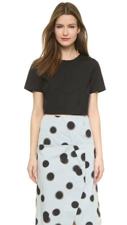 Marc By Marc Jacobs Short Sleeve Crop Top - Black