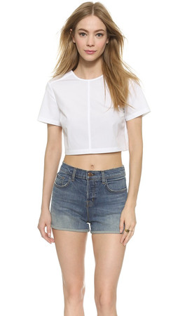 Marc By Marc Jacobs Short Sleeve Crop Top - White