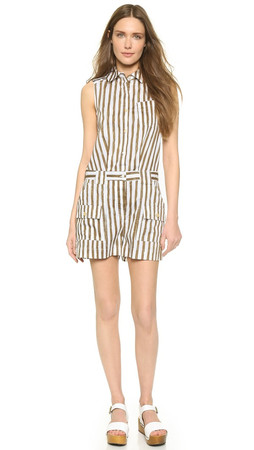 Marc By Marc Jacobs Sketch Stripe Romper - New Olive Green Multi