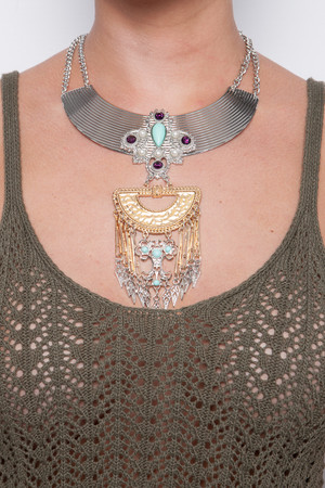 Marnie Silver & Gold Tribal Necklace Set