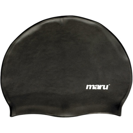 Maru Solid Silicone Swim Hat - One Size Black | Swimming Caps
