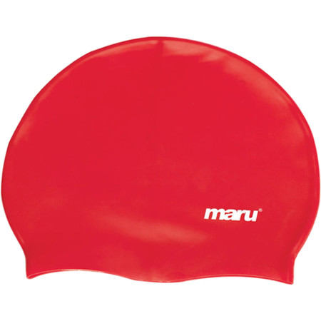 Maru Solid Silicone Swim Hat - One Size Red | Swimming Caps