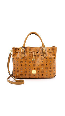 Mcm Medium Drawstring Shopper - Cognac