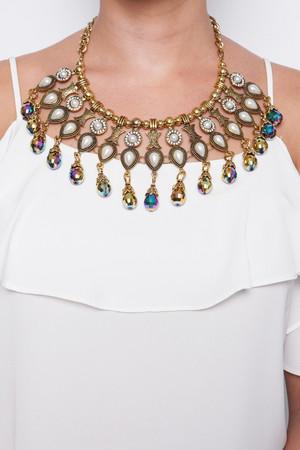 Mercy Gold Iridescent Beaded Necklace