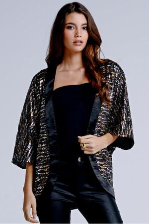 Metallic Animal Print Kimono Jacket
