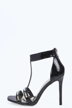 Metallic Trim T Bar Heels black
