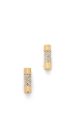 Michael Kors City Barrel Stud Earrings - Gold/Clear