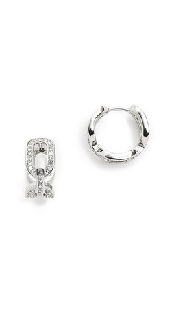 Michael Kors Frozen Chain Huggie Earrings - Silver/Clear