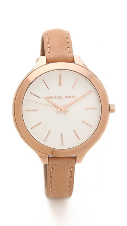 Michael Kors Leather Slim Runway Watch - Rose Gold/Brown