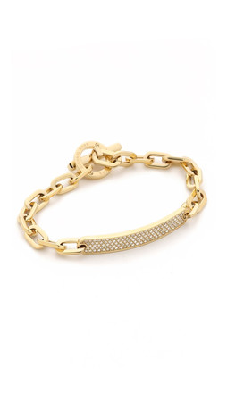 Michael Kors Pave Id Toggle Bracelet - Gold/Clear